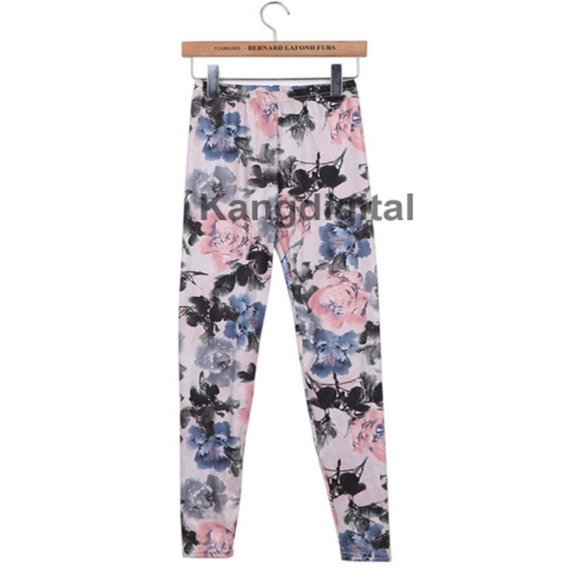 Womens Retro Flowers Floral Print Ink Painting Stretch Leggings Pants