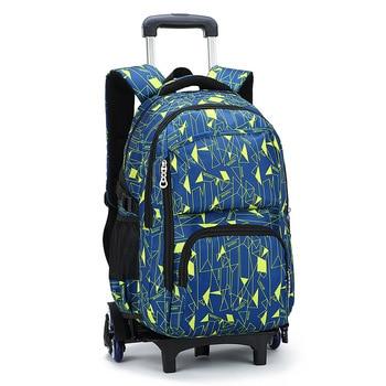 Removable Children School Bags teenager boys girls 3 Wheels Stairs Kids Trolley Schoolbag Luggage Wheeled Backpack Book Bags
