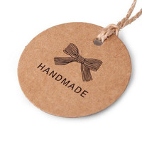 Wholesale 100Pcs Lot HANDMADE Gift Tags Paper Tags Decorative Card Brown Kraft Paper Round Hang Tags