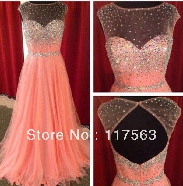 Glitter Sparkles Peach de Color transparente con cuentas cuello desnudo volver espalda abierta vestido largo para Shipping WH436
