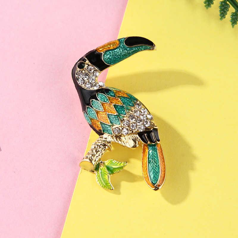 Crystal Enamel Burung Bros untuk Wanita Phoenix/Mandarin/Flamingo/Hewan Burung Hantu Breastpin Pin Perhiasan Aksesoris
