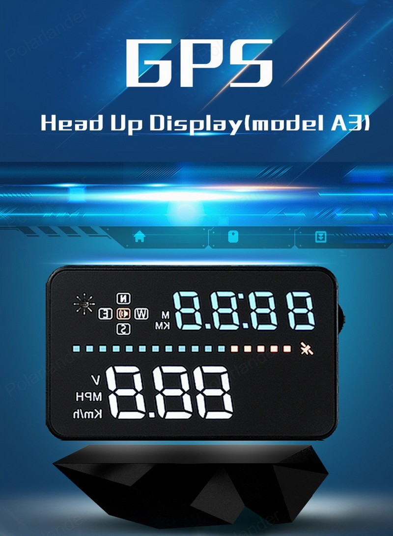 A3  3.5 inch  screen   Head Up Display  Speeding Warning  Brand new   Interface Satellites Time  hot sale  GPS Hud With OBD