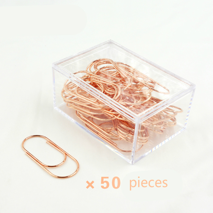 TUTU 50pcs/box 50mm Rose Gold Paperclips Electroplating Metal Paper Clips Photo Clip Paper Clips Decorative Stationary H0166