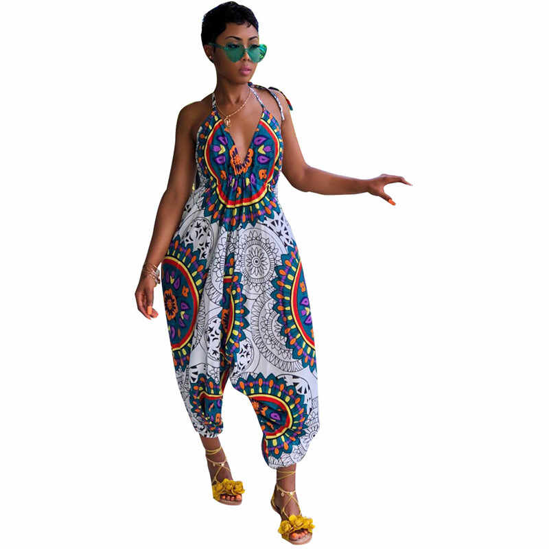 2b8baa4dc9 Traditional African Print Jumpsuit Women Indie Folk Dashiki Casual Rompers  Backless Halter Loose Baggy Harem Jumpsuit