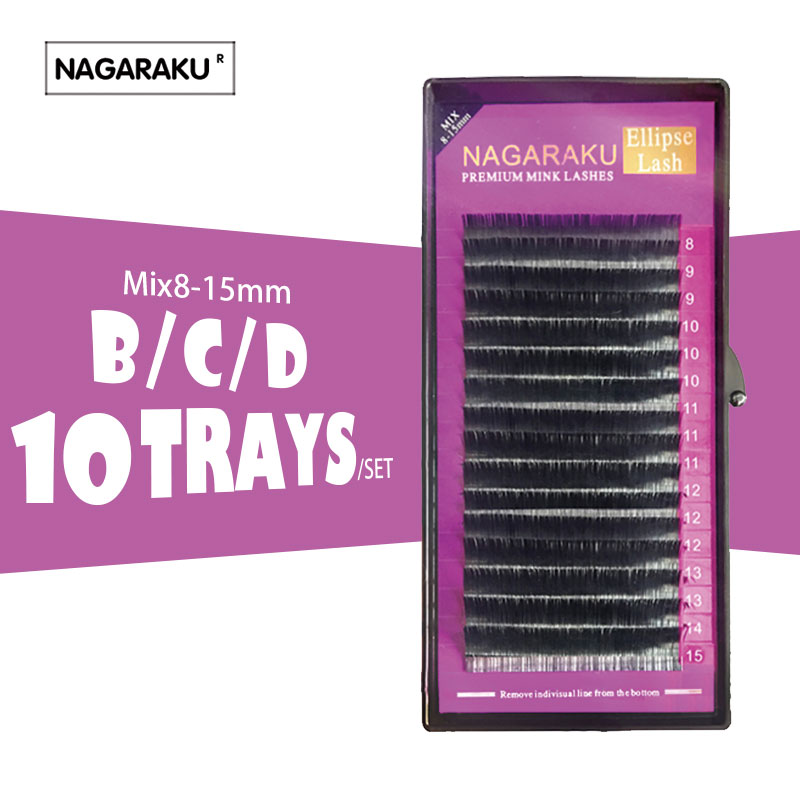 NAGA 10set Mix 8 15mm Ellipse Eyelashes Ellipse Mink Eyelash Extension flat mink cilia eyelashes Faux
