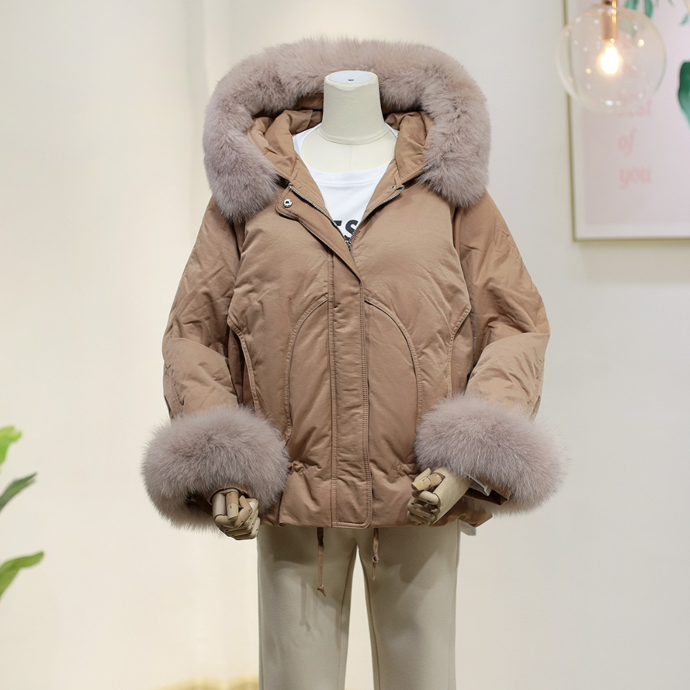 Winter fashion brand cloak style fox fur hooded thicker duck down coat female big real fox fur fluffy warm down parkas wq737