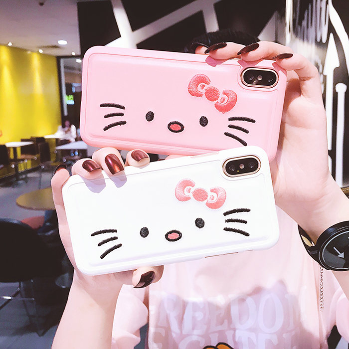 For iphone X Hello Kitty embroidery phone Case, PU Leather +Hard PC KT Back Case For iphone X 5.8inch fundas