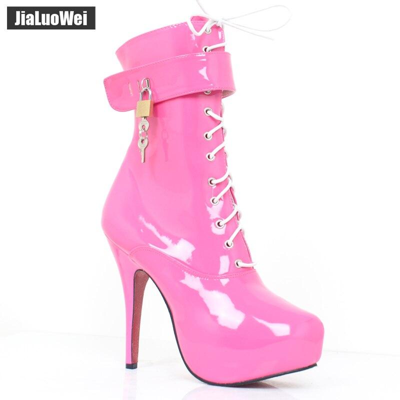 Jialuowei セクシーな女性 15 センチメートルハイヒールプラットフォームレースアップフェチロック可能なストラップ南京錠アンクルブーツサイズ 36  46  グループ上の 靴 からの アンクルブーツ の中 1