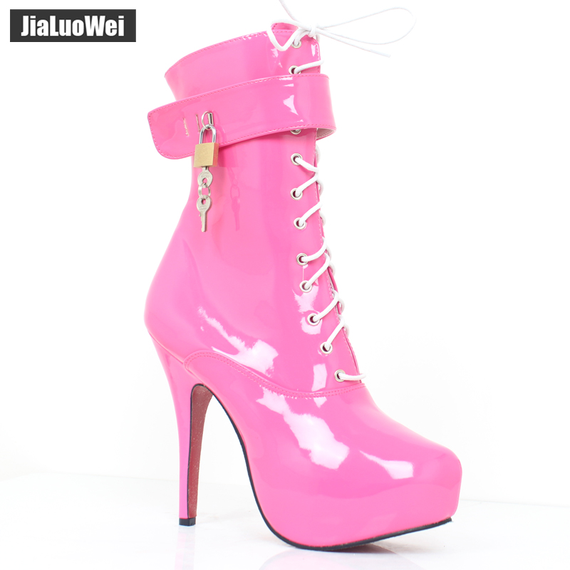 jialuowei Sexy Women 15cm High Heel Platform Lace-Up Fetish Lockable Straps Padlocks Ankle Boots Size 36-46