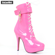 jialuowei Fashion Women 15cm High Heels Ankle Boots Lace-Up Platform Boot for Women Sexy Fetish Shoes Motorcycle Lockable Boots  цена в Москве и Питере