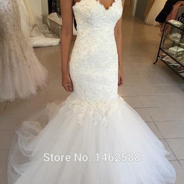 Gorgeous Rhinestone Appliques White Lace Sweetheart