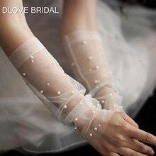 Старинные Жемчужина Sheer тюль перчатки свадьбы свадебный пальцев локтя фотосессии аксессуар 30СМ