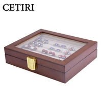 CETIRI Glass Cufflinks Box For Men Storage 12pairs Capacity Rings Jewelry Box High Quality Painted Wooden Collection Display Box