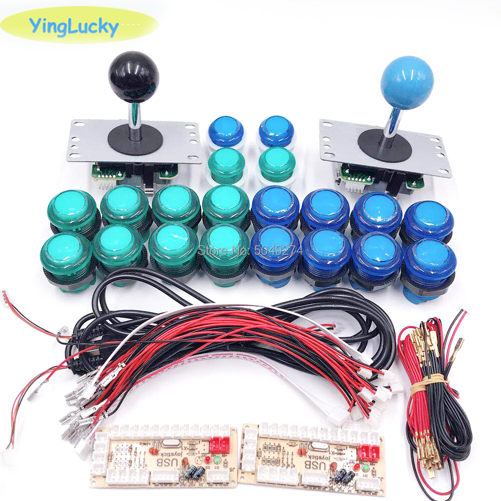 2- Players DIY Arcade Joystick Kits With 20 LED Arcade Buttons + 2 Joysticks + 2 USB Encoder Kit + Cables Arcade Game Parts Set