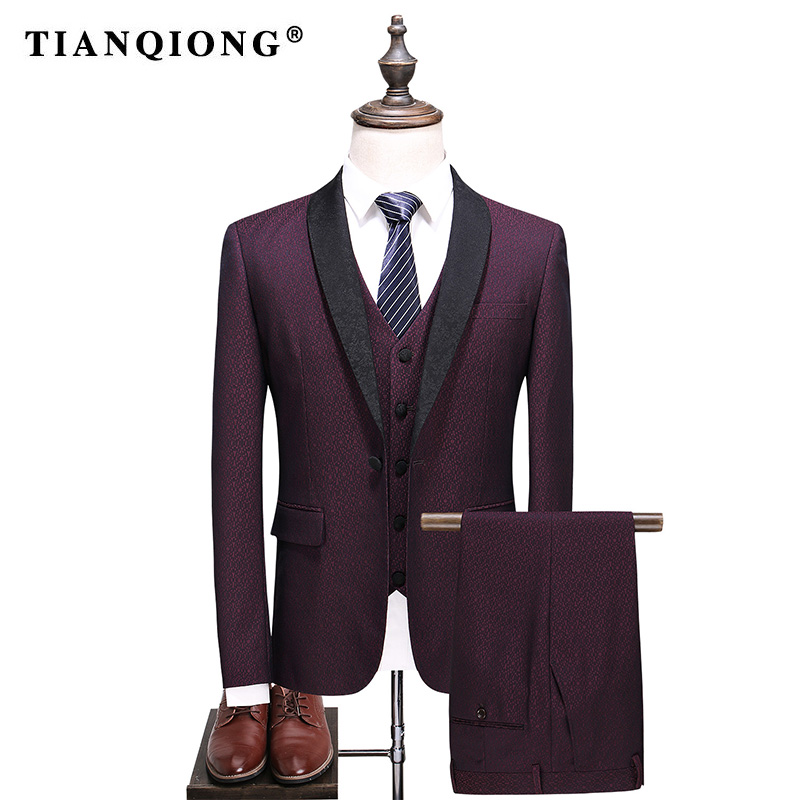 TIAN QIONG Brand Men Suit 2018 Wedding Suits for Men Shawl Collar Slim Fit Burgundy Suit ...