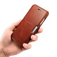 ICARER Vintage Series Side Open Genuine Leather Case For IPhone 7 Pure Hand Made Flip Case