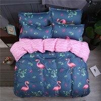 King Size Bedding Set Flamingo Bedding Sets Queen jogo de cama Reactive Printed Bed Sheets Single Bed Linen Kids Duvet Cover Set