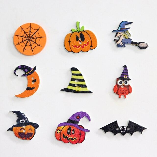 50PCS Halloween Wooden buttons Mixed Pumpkin Hat Owl Bats 2 Hole ...