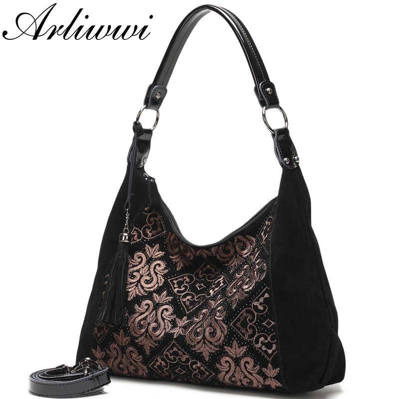 Arliwwi 100% натуральная кожа для женщин Винтаж Вышивка мягкие сумки hobo из натуральной замши черный большой черный женский сумки новый