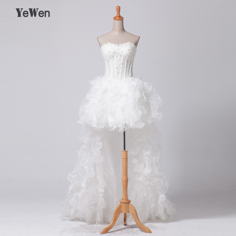 Top Selling beach Sexy Lace short in front and long in back tuller Simple Elegant Wedding Dress
