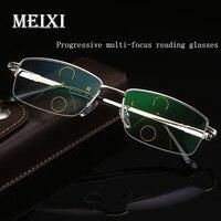 f7ab690e8 MEIXI Half Frame Multi Focus Glasses Progressive Resin Lens Distance Dual  Progressive Bifocal Women Men Reading