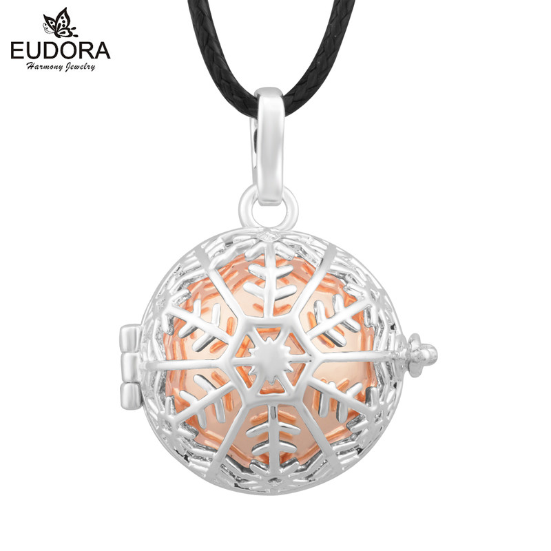 Christmas Gift Colorful Snowflake Harmony Bola Mexican Memory Locket Cage Music Sound Chime Ball Angel Caller Pendant & Necklace