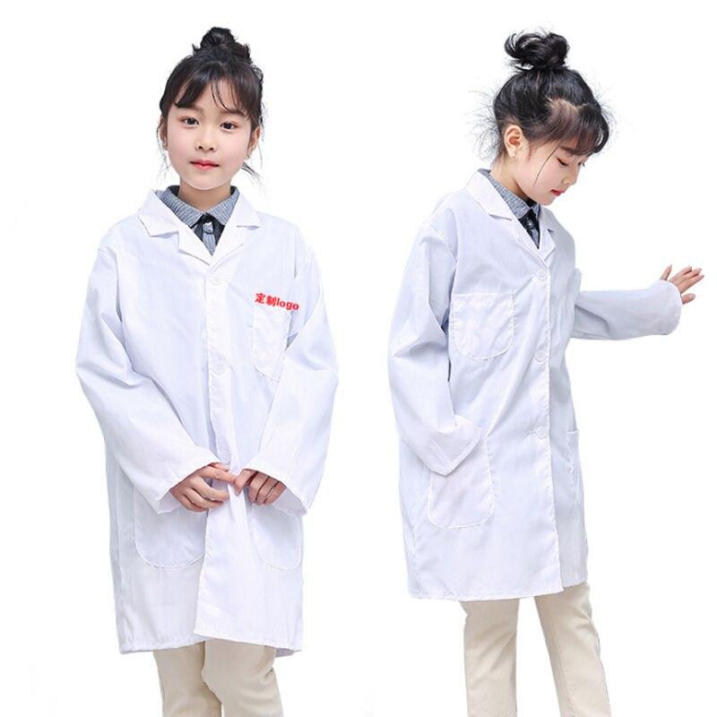 2019 Children White Lab Coat Medical Laboratory Kids Boys Girls Warehouse Doctor Work Wear Hospital Technician Uniform Clothes