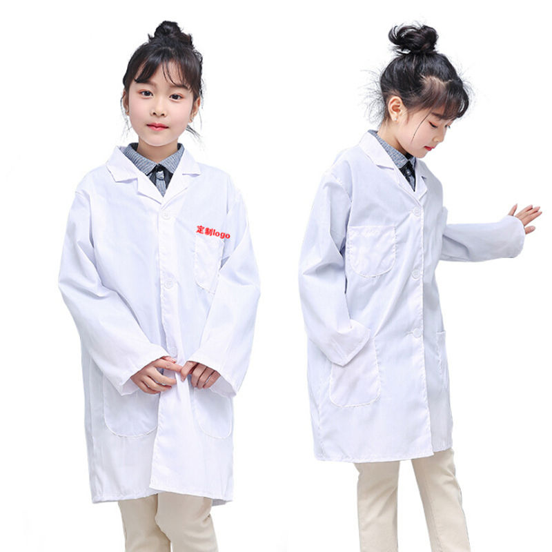 Hot Children White Lab Coat Medical Laboratory Kids Boys Girls Warehouse Doctor Work Wear Hospital Technician Uniform Clothes