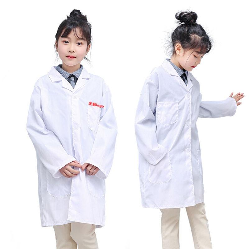Hot Children White Lab Coat Medical Laboratory Kids Boys Girls Warehouse Doctor Work Wear Hospital Technician Uniform Clothes
