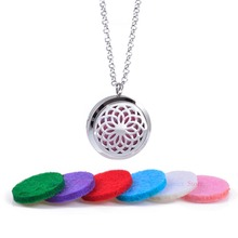 1Pc Stainless Steel Essential Oil Diffuser Pendant Necklace With 5 different Refill Pads