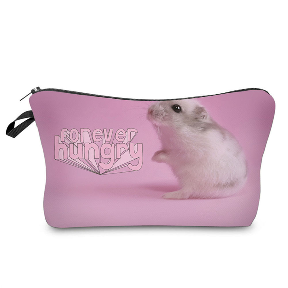 Hot Sale Female Cute 3D Hamster Pattern Cosmetics Organizer Pouch Storage Bag Gift Fashion Women Lady Travel Makeup Bags Popular