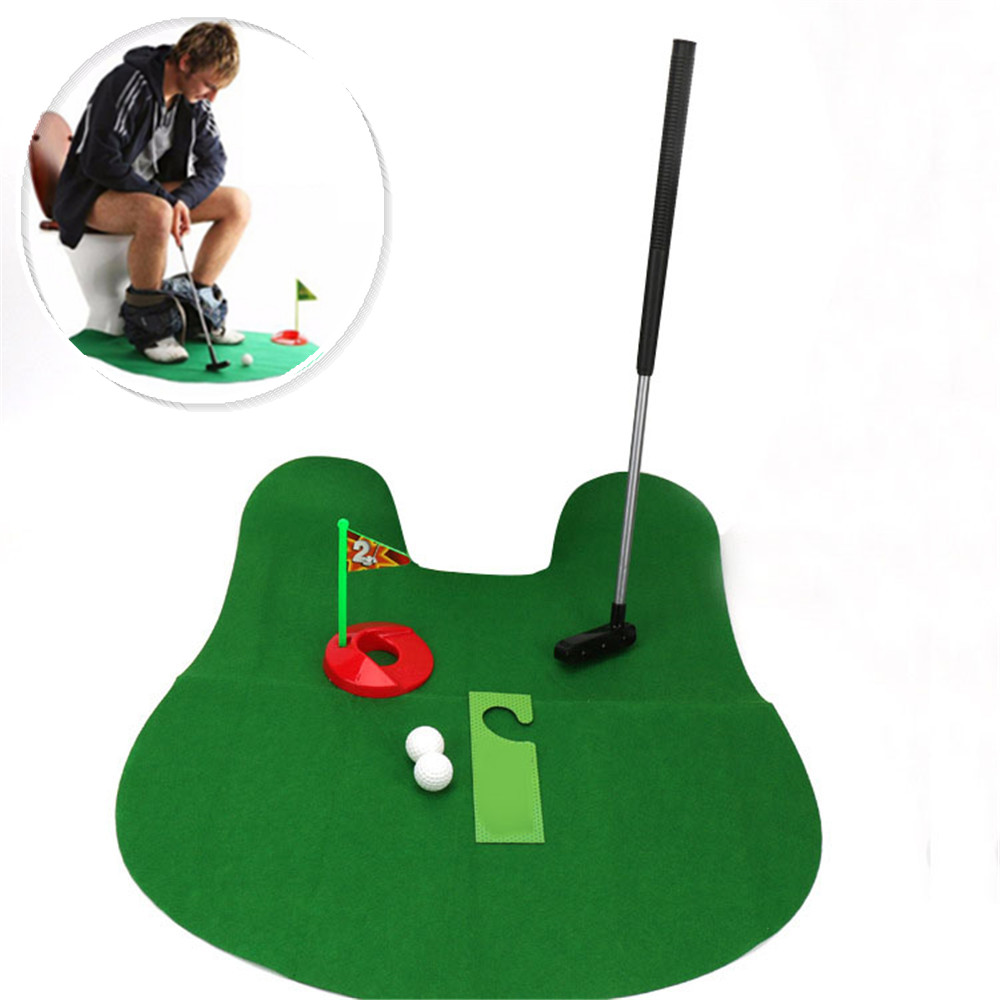 Potty Putter Toilet Golf Game Mini Golf Set Toilet Golf Putting Green Novelty Game Toy Gift for Adult and Kids Sports Toy