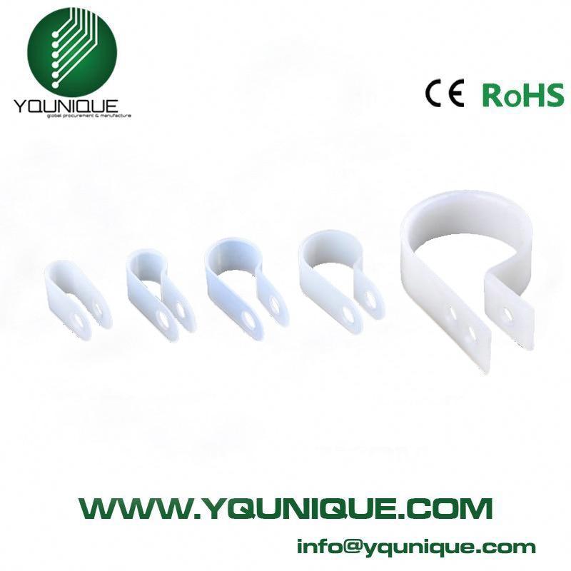 100pcs/bag Black White 3.3 U type line clamp Cable retention clips ...