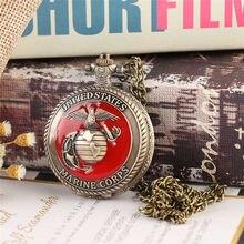 b9da728213c Charme do vintage estados unidos marine corps quartzo steampunk relógios de  bolso para as mulheres homens colar pingente relógio.