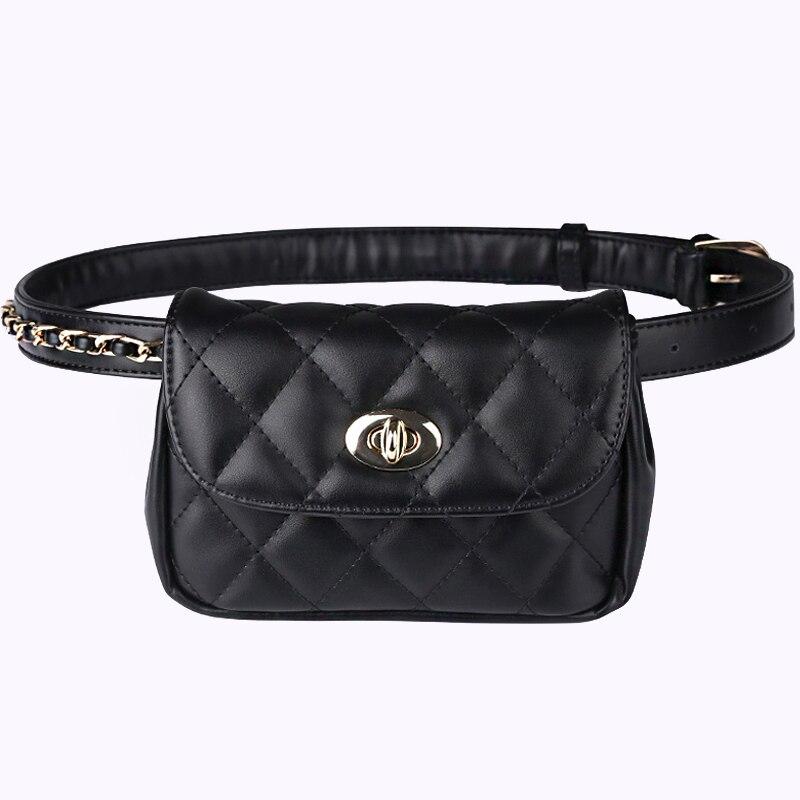 New Fashion Women Waist Pack Travelling Mobile Phone Bags PU Leather Waterproof Fanny Mini Waist Bag Female Black Waist Belt Bag