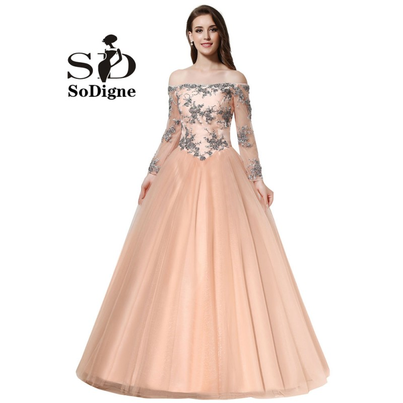 87b98e9452403 Prom Dress 2018 SoDigne Vintage Tulle Peach Color Evening Dress Long Sleeve  Off The Shoulder Lace Up Party Gown Appliques Beads-in Prom Dresses from ...