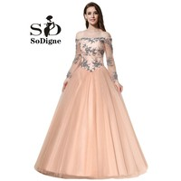 Prom Dress 2018 SoDigne Vintage Tulle Peach Color Evening Dress Long Sleeve Off The Shoulder Lace Up Party Gown Appliques Beads