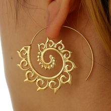 docona  Punk Gold Sliver Hollow Spiral Dangle Earrings Women Ladies Tribal Gear Drop Earring Circle Ear Festival Jewelry 4755
