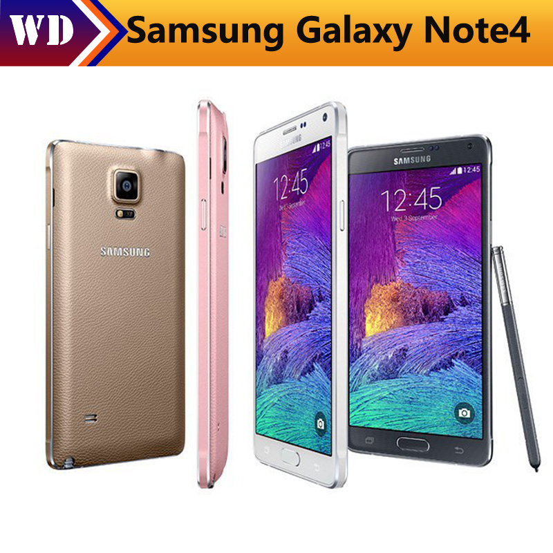 Original Unlocked Samsung Galaxy Note 4 N910A N910F N910P 4G LTE Mobile Phones 5.7 inch 16MP 32GB ROM Refurbished Smartphones(China)