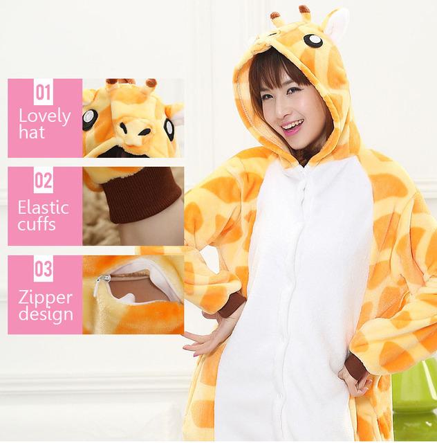 Giraffe Tiger Kigurumi Onesie Adult Teenagers Women Pijama Pajamas Funny Flannel Warm Soft Sleepwear Overall Onepiece Jumpsuit