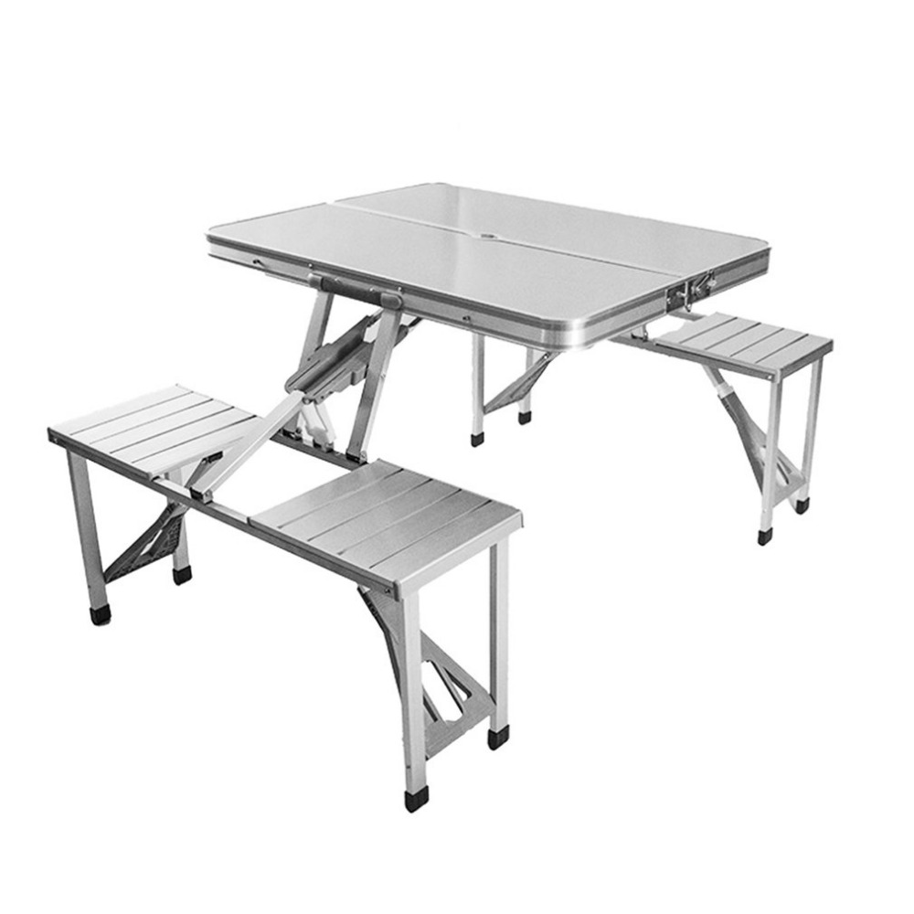 Outdoor Folding Tables And Chairs Combination Set Portable Lightweight For Picnic BBQ Camping Aluminum Alloy Easy Fold Up outdoor portable folding tables and chairs set camping bbq advertising exhibition stand push table