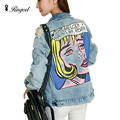 2017 New Autumn Fashion Women Denim Jacket Colored Woman Printing Casual Loose Coat Street Style Bomber Jackets Chaquetas Mujer