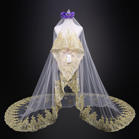 Velos de novia2020 new lace gold Cathedral Veil 3M beautiful bride veil stock wedding veil wholesale wedding accessories
