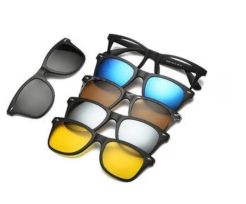 5 lenes Magnet Sunglasses Clip Mirrored Clip on Sunglasses clip on glasses Men Polarized Clips Custom Prescription Myopia 1