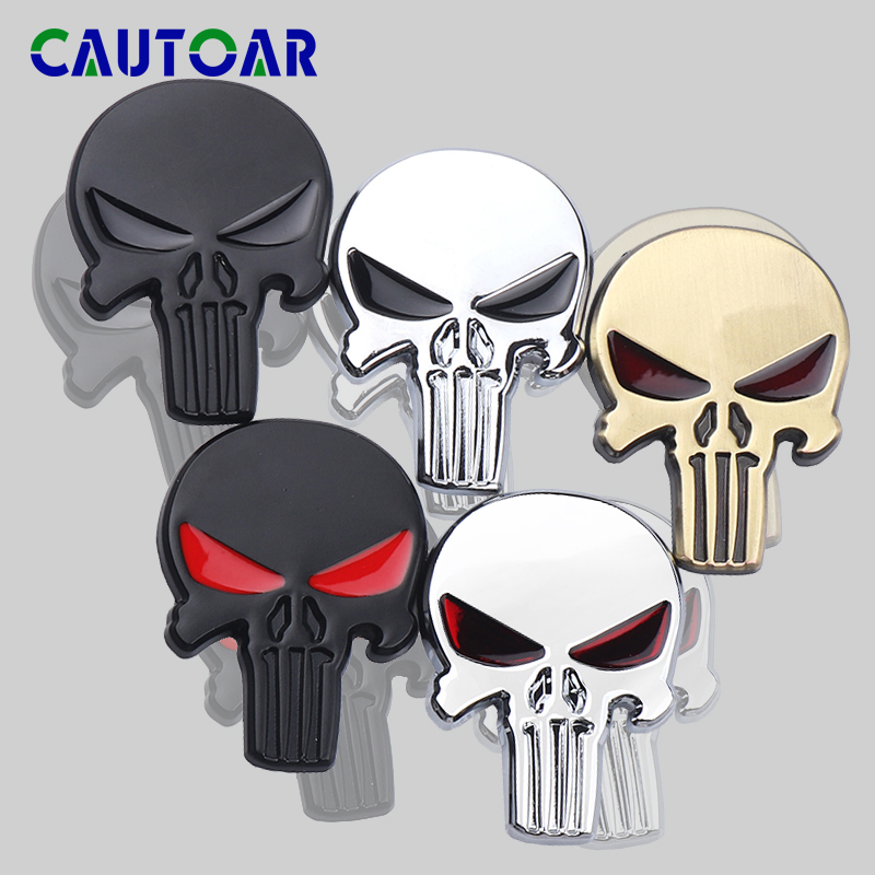 Car Styling 3D Metal Emblem The Punisher Skull Head Emblem Sticker Automobile Motorcycle Exterior Decorations Decal Accessories