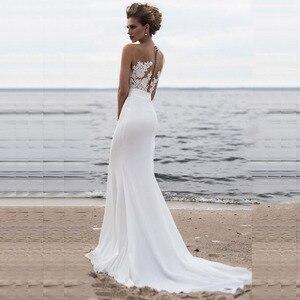 Image 2 - 신부 드레스 2019 섹시한 간단한 특종 목 민소매 웨딩 드레스 새틴 벨트와 Tulle 레이스 로브 드 Mariee Trouwjurk