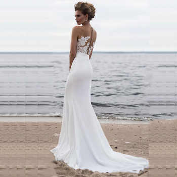Bridal Dresses 2019 Sexy Simple Scoop Neck Sleeveless Wedding Gown Tulle Lace with Satin Belt Robe de Mariee Trouwjurk