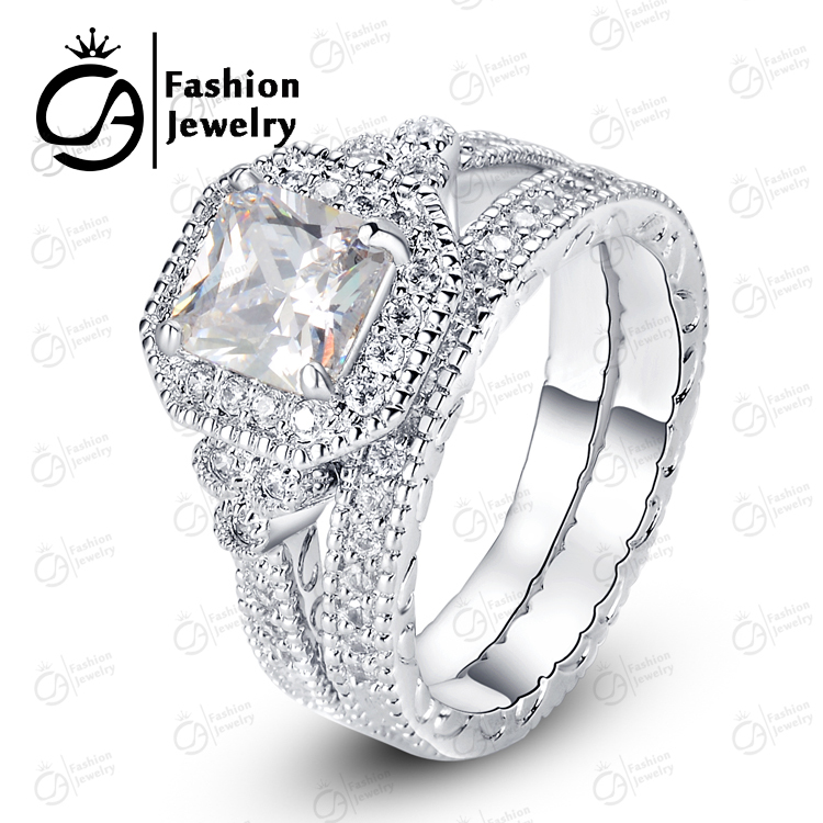 OLA High Quality White Gold Halo Bridal Set Round Cut Asscher Cubic Zirconia Engagement Wedding Bands Ring R88117 In Rings From Jewelry Accessories On