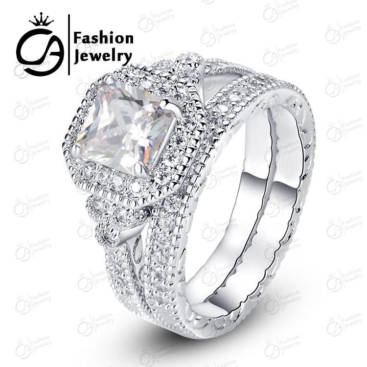 ola high quality 14k white gold halo bridal set round cut asscher cubic zirconia engagement wedding