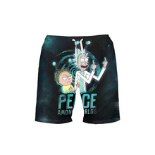 VEEVAN Men's Board Shorts Anime Ricky And Morty 3D Printing Beach Shorts Quick-dry
